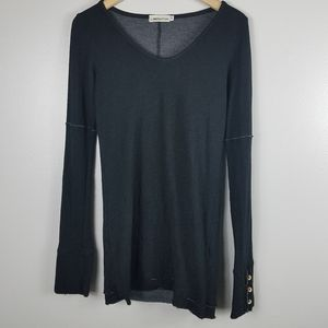 Liberation Black Thermal LS Tee with Button Detail
